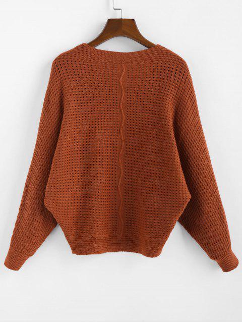 fancy ZAFUL x Yasmine Bateman Dolman Sleeves V Neck Solid Open Knit Sweater - RED DIRT M Mobile