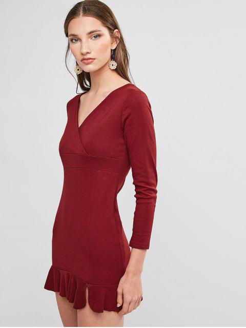 Mini Robe de Soirée Sirène Plongeante - Rouge Vineux L Mobile