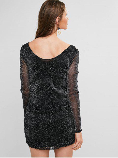 Robe Plongeante Tricotée à Volants - Noir XL Mobile