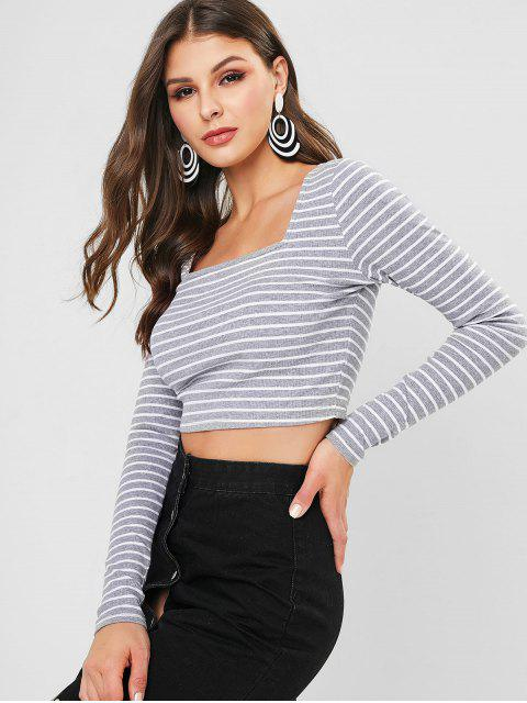 fashion ZAFUL Striped Square Neck Crop Tee - GRAY CLOUD M Mobile