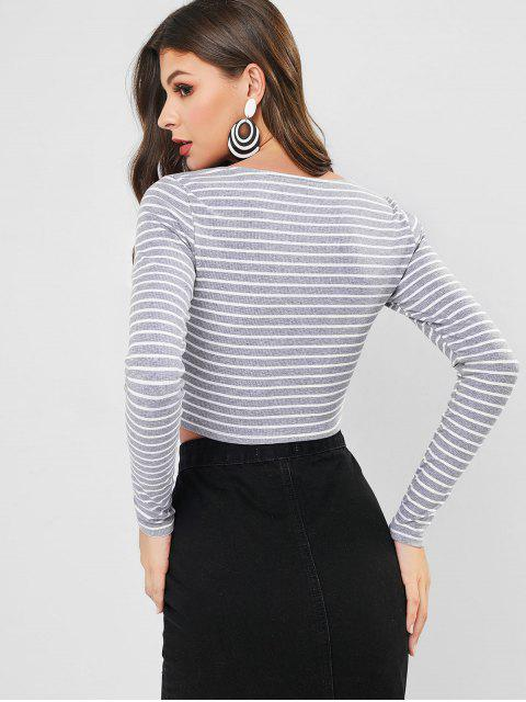 affordable ZAFUL Striped Square Neck Crop Tee - GRAY CLOUD S Mobile