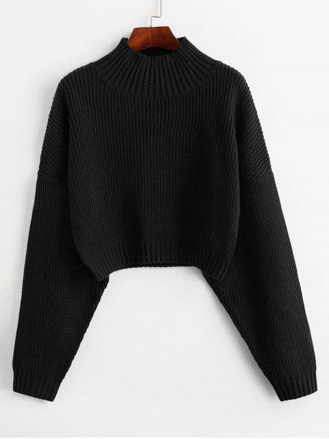 fashion ZAFUL Drop Shoulder Mock Neck Plain Sweater - BLACK M Mobile