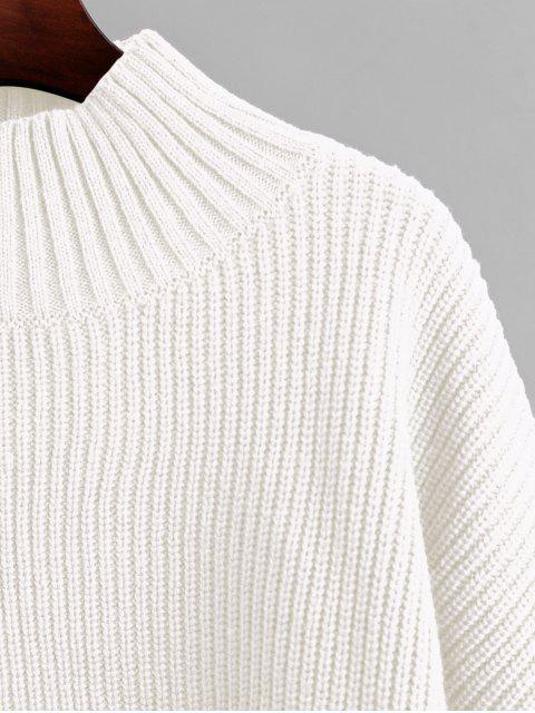 outfits ZAFUL Drop Shoulder Mock Neck Plain Sweater - WHITE L Mobile