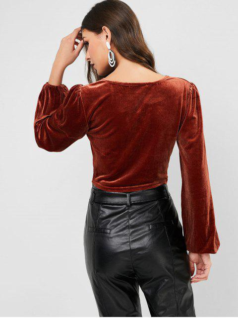 new ZAFUL Buttons V Neck Velvet Crop Tee - BROWN M Mobile