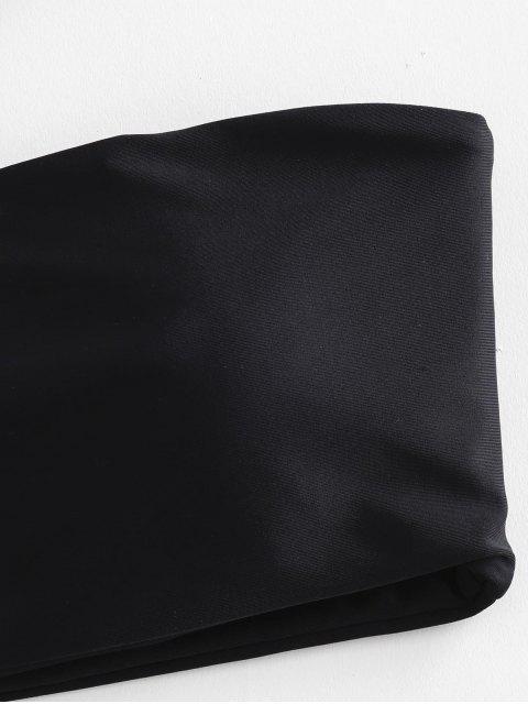 ZAFUL de tiras de ojales Bandeau bikini - Negro M Mobile