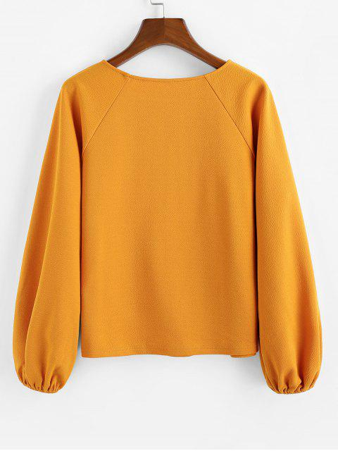 best ZAFUL Raglan Sleeves Solid Round Neck Blouse - MUSTARD L Mobile