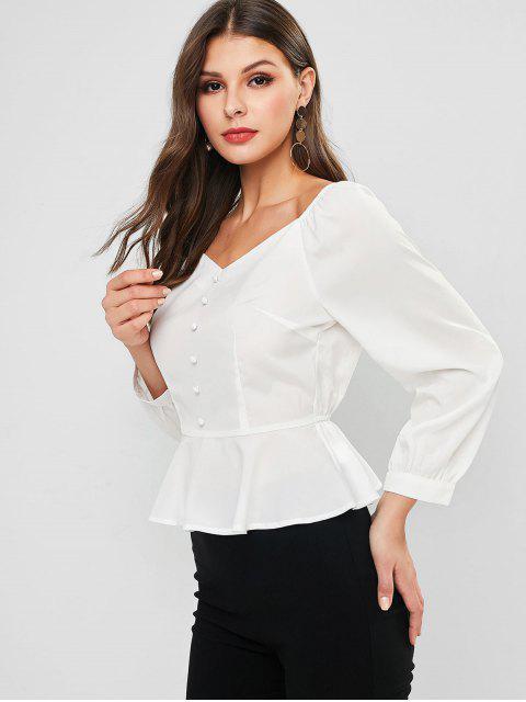 online ZAFUL Mock Button Peplum Milkmaid Blouse - WHITE M Mobile