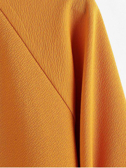 women's ZAFUL Raglan Sleeves Solid Round Neck Blouse - MUSTARD S Mobile