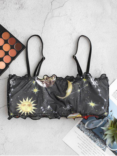 ZAFUL Maillot de Bain Bikini Bandeau Lune Etoile Soleil en Maille à Ourlet en Laitue - Noir S Mobile
