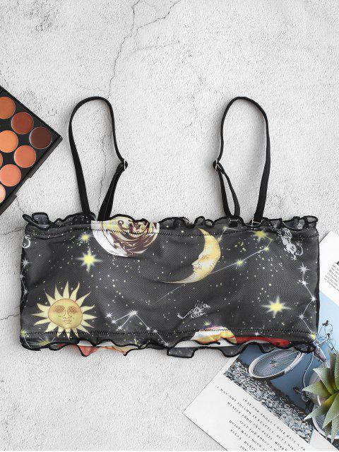 ZAFUL Maillot de Bain Bikini Bandeau Lune Etoile Soleil en Maille à Ourlet en Laitue - Noir M Mobile