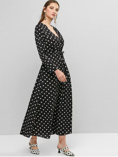 Ceñido de manga larga vestido de lunares Sobrepelliz Maxi - Negro XL Mobile