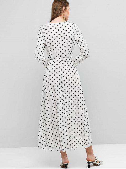 new Belted Long Sleeve Polka Dot Maxi Surplice Dress - WHITE S Mobile