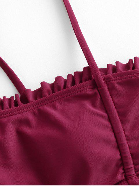 ZAFUL Frilled abrazo de la muerte Lace Up High Cut bikini - Marrón S Mobile