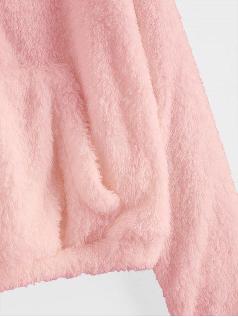 ladies Half Zip Front Pocket Fluffy Teddy Sweatshirt - LIGHT PINK S Mobile