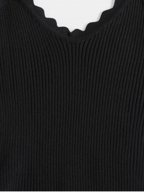 Überbackene Gerippte Strick Slim Chasuble Top - Schwarz Eine Größe Mobile
