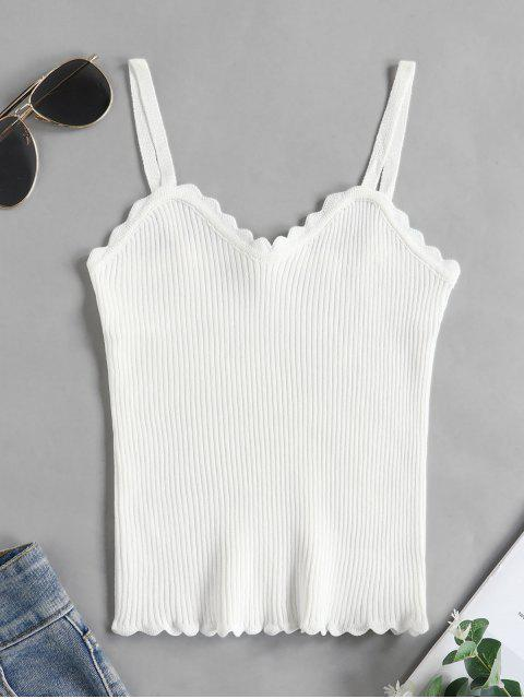 sale Scalloped Ribbed Knit Slim Cami Top - WHITE ONE SIZE Mobile