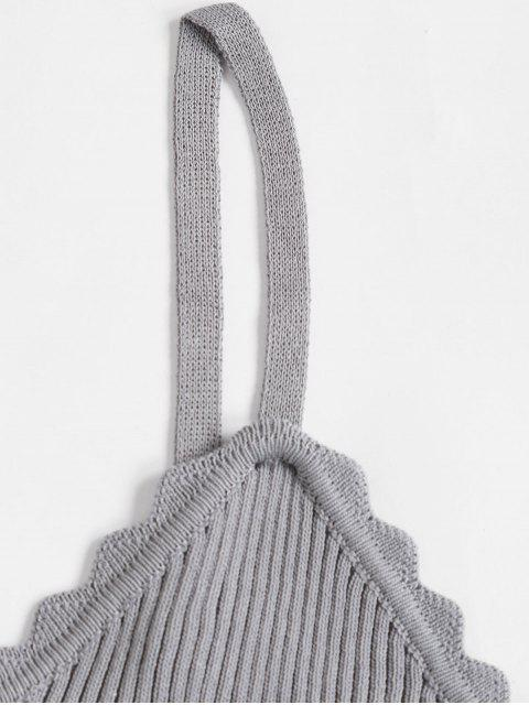 Überbackene Gerippte Strick Slim Chasuble Top - Grau Eine Größe Mobile