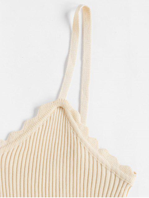 Überbackene Gerippte Strick Slim Chasuble Top - Helles Khaki Eine Größe Mobile