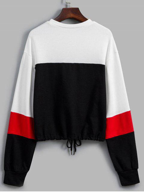 KordelzugHängenderSchulter Farbblock Sweatshirt - Multi-A L Mobile