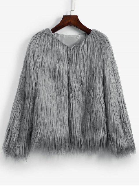 Künstliche Pelz Zottelige Stil Flauschige Mantel - Grau S Mobile