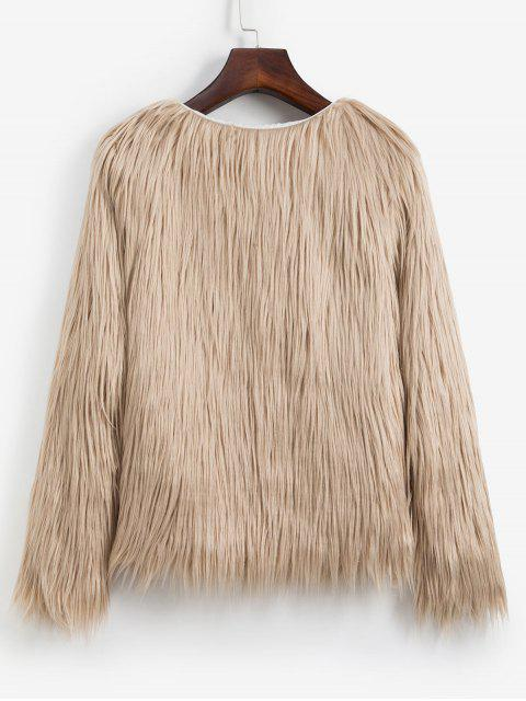 Kunstpelz Leichter Stil Plüsch Flauschige Mantel - Helles Khaki S Mobile