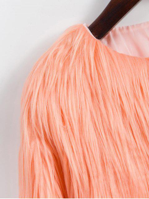 Kunstpelz Leichter Stil Plüsch Flauschige Mantel - Dunkler Pfirsich S Mobile
