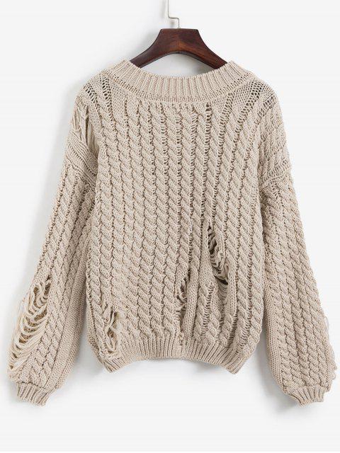 V Ausschnitt Zopfmuster Betrübte Klumpige Pullover - Tan Eine Größe Mobile