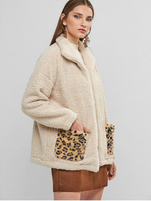 Reißverschluss Leopard Dual Taschen Teddy - Aprikose XL Mobile