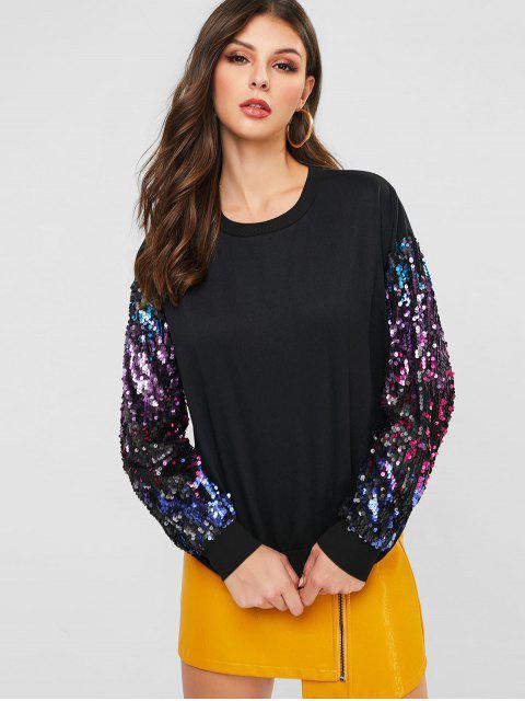 ZAFUL Sweatshirt mit Pailletten an den Ärmel und Rundhalsausschnitt - Schwarz S Mobile