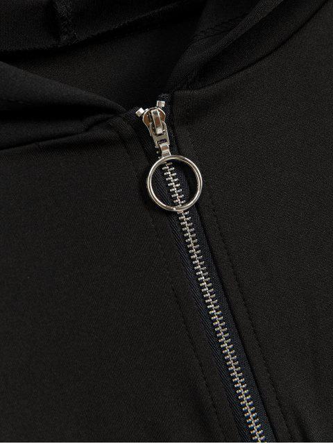 落肩蛇皮打印半拉鍊帽衫 - 黑色 M Mobile