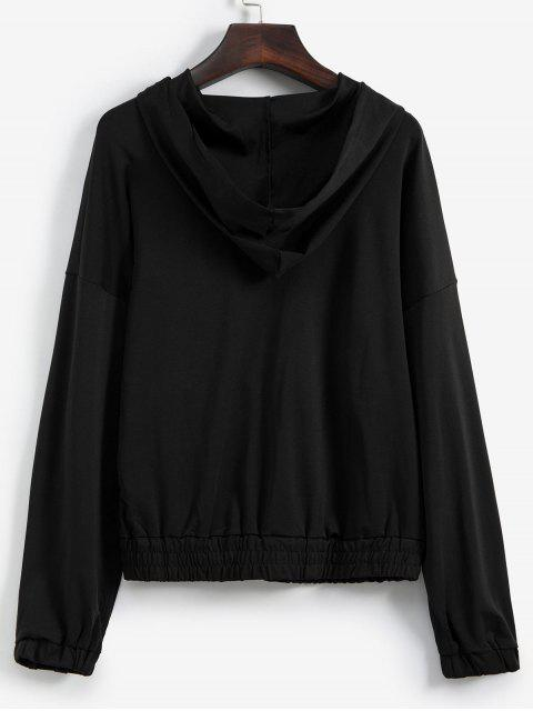 best Drop Shoulder Snakeskin Print Half Zip Hoodie - BLACK L Mobile