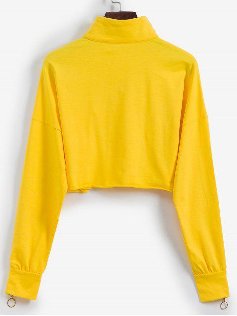 半郵編原始下擺七分褲外套 - 黃色 M Mobile