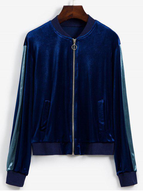 outfits Contrast Sleeve Zip Front Velvet Bomber Jacket - NAVY BLUE M Mobile