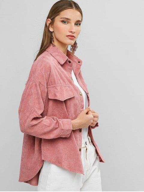 sale Snap Button Front Pocket Corduroy Shirt Jacket - PINK ONE SIZE Mobile