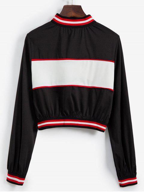 模擬領Colorblock條紋毛衣外套 - 黑色 L Mobile