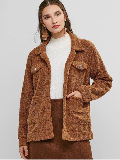 口袋單排扣蓬鬆泰迪外套 - 淺褐色 S Mobile