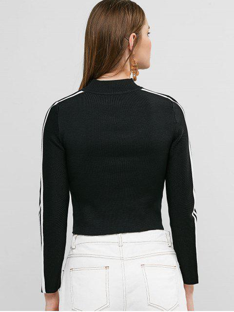 outfit Go For The Best Graphic Mock Neck Taped Sweater - BLACK ONE SIZE Mobile