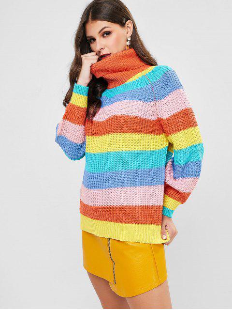 Regenbogen-Pullover mit Stehkragen Raglan-Hülsen-Pullover - Multi-A Eine Größe Mobile