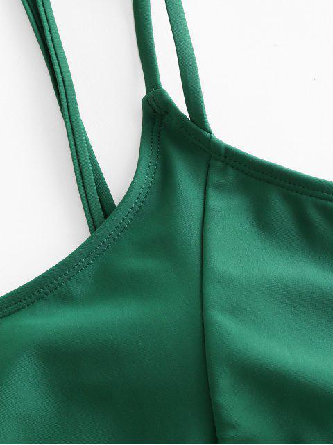 ZAFUL葉打印綁捆緊的比基尼套裝 - 中等海綠色 L Mobile