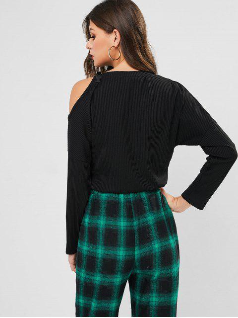 new Ribbed Buckle Cold Shoulder T-shirt - BLACK L Mobile