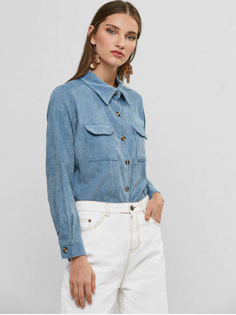 latest Buttoned Corduroy High Low Shirt with Pockets - BLUE M Mobile