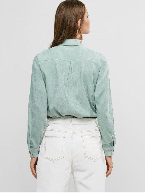 unique Buttoned Corduroy High Low Shirt with Pockets - LIGHT GREEN S Mobile