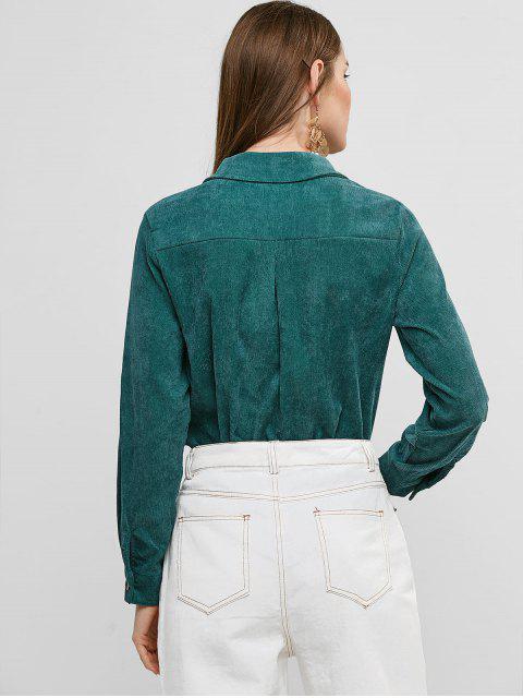 搞定燈芯絨高低襯衫口袋 - 淡褐綠色 S Mobile