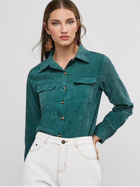 hot Buttoned Corduroy High Low Shirt with Pockets - HAZEL GREEN L Mobile