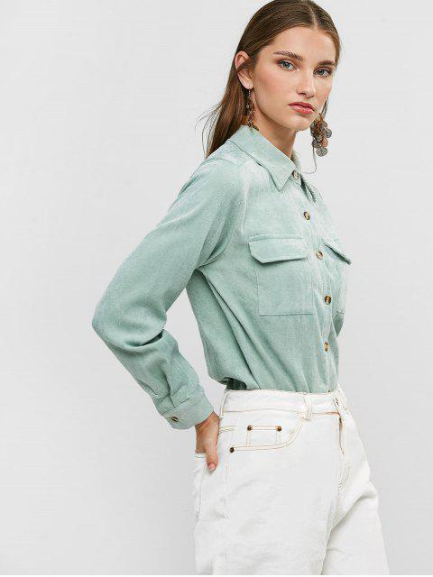 outfits Buttoned Corduroy High Low Shirt with Pockets - LIGHT GREEN L Mobile
