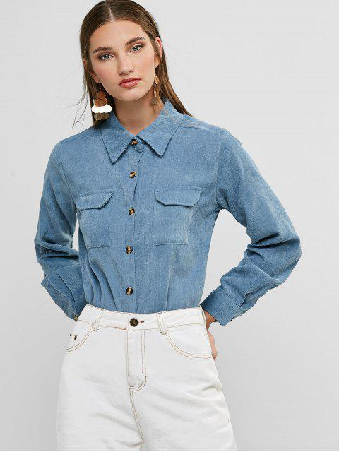 chic Buttoned Corduroy High Low Shirt with Pockets - BLUE S Mobile