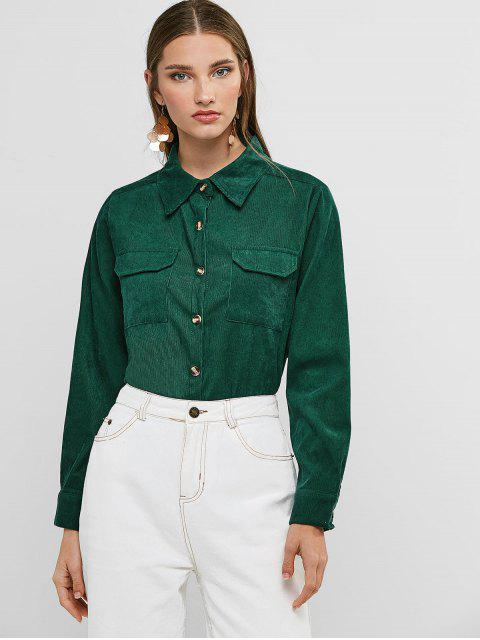 womens Buttoned Corduroy High Low Shirt with Pockets - GREEN S Mobile