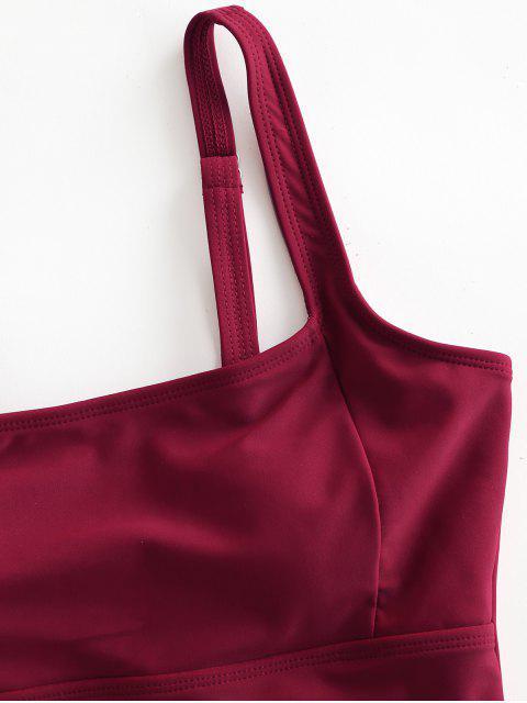 ZAFUL Одноцветный Слитный Купальник - Красное вино S Mobile