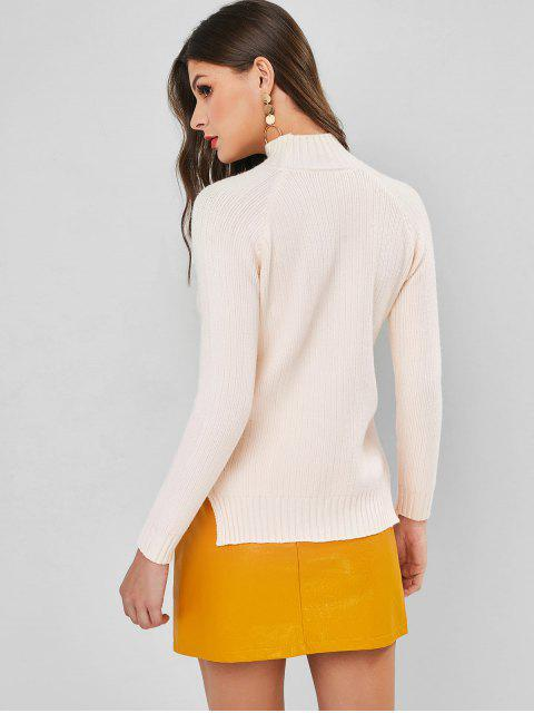 chic Raglan Sleeve High Low Slit Pullover Sweater - BEIGE ONE SIZE Mobile