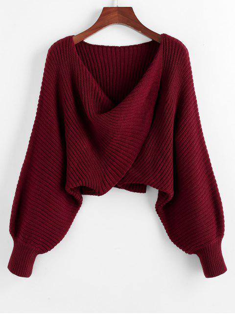 hot Twist Asymmetric Crop Sweater - RED WINE S Mobile